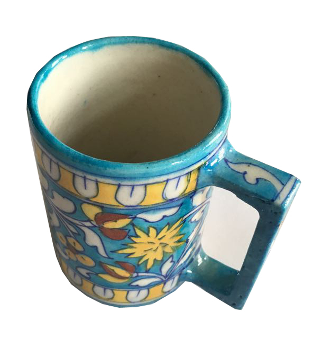 Buy Blue Pottery Beer Mug In Blue And Yellow Color Online Craftmagic