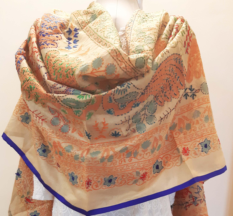Kashmiri Phulkari Work  Party Wear Indian Dupatta Perfect for Weddings Parties